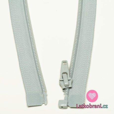 Zip spirálový dělitelný stříbřitě šedý 60cm