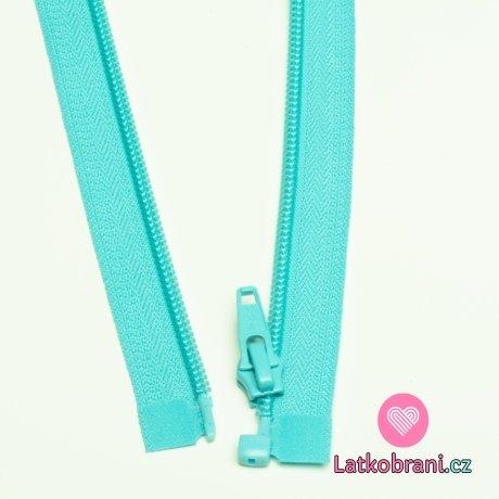 Zip spirálový dělitelný tyrkysový světlejší 65cm