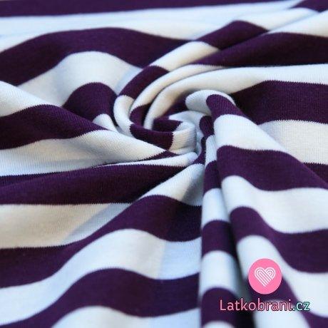Úplet proužky fialové s bílou širší