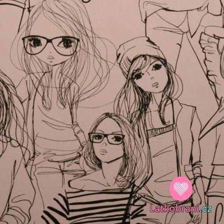 """Úplet potisk """"Fashion girls"""" na růžové"""