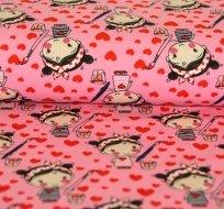 Úplet holčička se štětcem a barvou na růžové