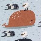 Úplet potisk velryby a racci na nebesky modré
