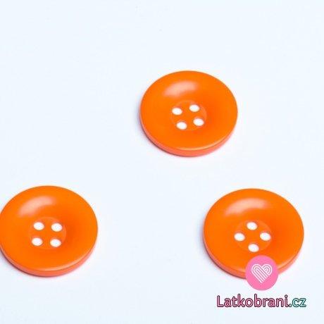 Knoflík hladký lesklý oranžový 28 mm
