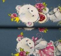 Bordura medvíďátko v sukýnce na šedo-modré