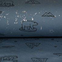 Úplet lední medvěd na jeansové modré tmavě / stříbrné hvězdy