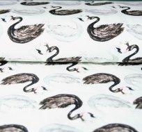 Teplákovina labutě černá a bílá na smetanové