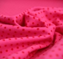 Úplet puntíky červeno-oranžové na růžové (malý)