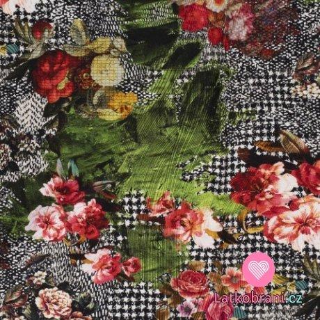 Úplet potisk pestré květy a lupeny na černobílém pepitu