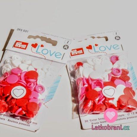 Patentky plastové Color snaps PRYM LOVE - srdíčka bíločervená