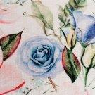 Teplákovina potisk modré a růžové čínské růže