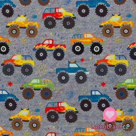 Softshell potisk bláznivé monster trucks na šedé