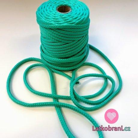 Šňůra kulatá oděvní PES 7 mm světlý smaragd
