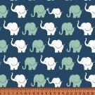 Úplet potisk sloní průvod na modré