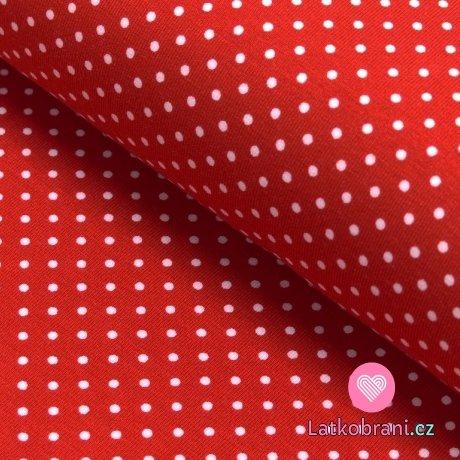 Úplet potisk droboučké bílé puntíčky na červené