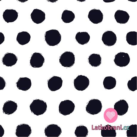 Úplet potisk nepravidelné černé puntíky na zaprášené bílé