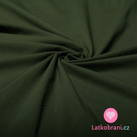 Jednobarevný úplet khaki zelená 220 g