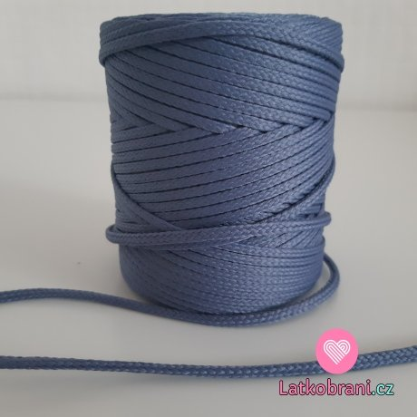 Šňůra oděvní kulatá  PES 4 mm šedo-modrá