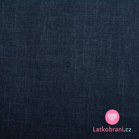 Teplákovina počesaná potisk jeans efekt modrá