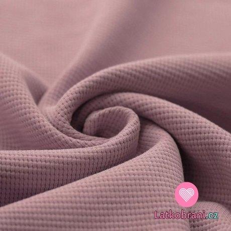 Bavlna s vaflovou vazbou jednobarevná starorůžová tmavší