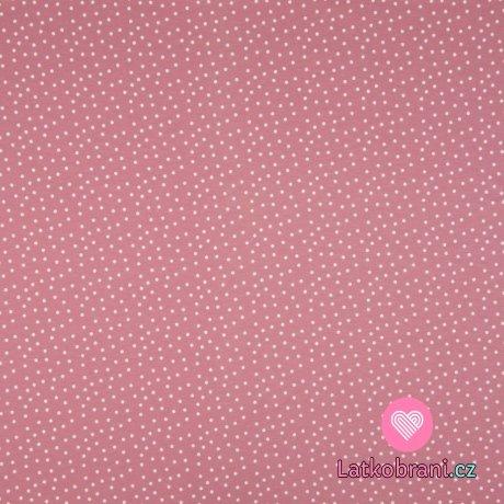 Úplet potisk bílé puntíky na růžové