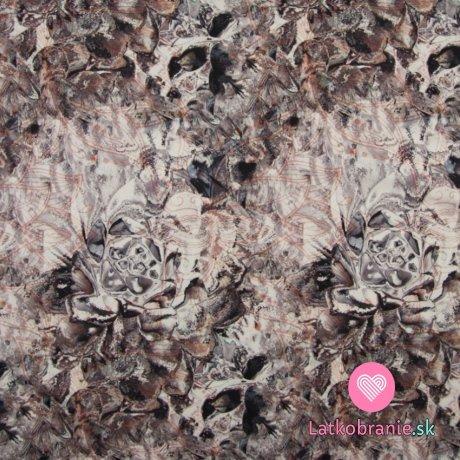 Funkční úplet potisk hnědo-bílá abstrakce