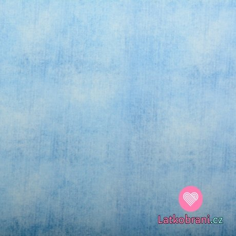 Teplákovina potisk denim baby modrá