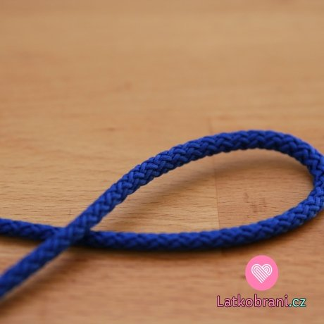 Šňůra kulatá oděvní PES 4 mm královsky modrá