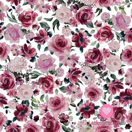 Teplákovina počesaná potisk rozkvetlé růžové květy na bílé, BIO