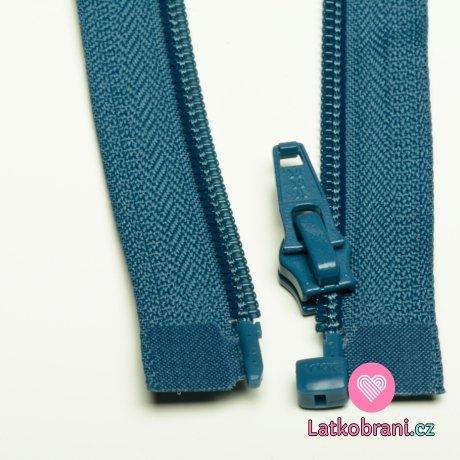 Zip spirálový dělitelný, modrý jeansový tmavší 30 cm