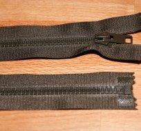 Zip kostěný dělitelný 40cm khaki