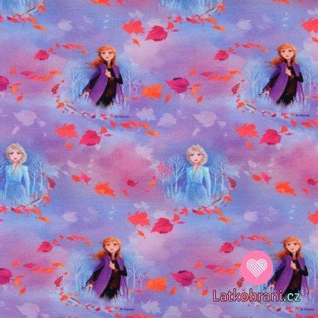 Úplet potisk Ledové království - Elsa a Anna mezi lístky na modro-fialové