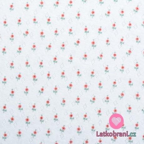 Úplet pointoille potisk drobné kytičky na bílé