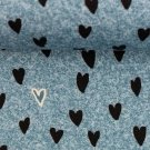 Teplákovina potisk černá srdíčka na modrém podkladu jeans efekt