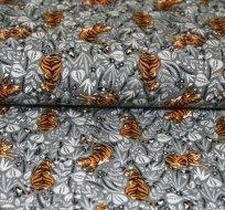 Úplet tygr mezi květy na šedé
