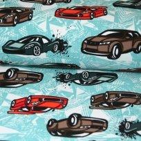 Teplákovina závodní auta červené, šedé na modré