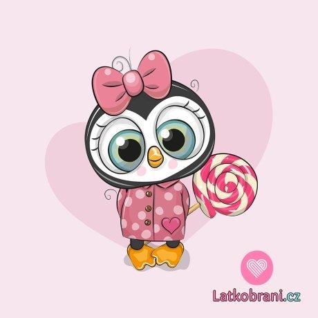 Panel tučňačka s růžovou mašlí