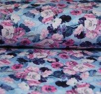 Úplet digitisk květy máku na jeansové