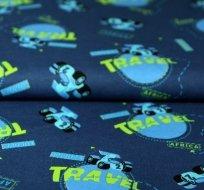 Bavlněný úplet formule Travel na modré