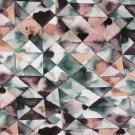Teplákovina potisk trojůhelníky zeleno-petrolejo-starorůžové