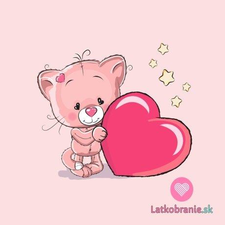 Panel koťátko se srdíčkem na růžové