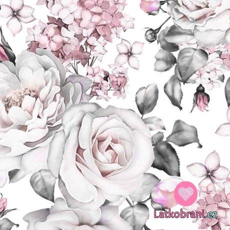 Teplákovina potisk bílé růže