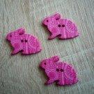Knoflík zajíček růžový s ornamenty
