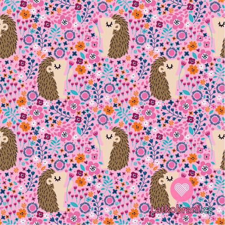 Úplet potisk ježečci mezi kvítky na růžové
