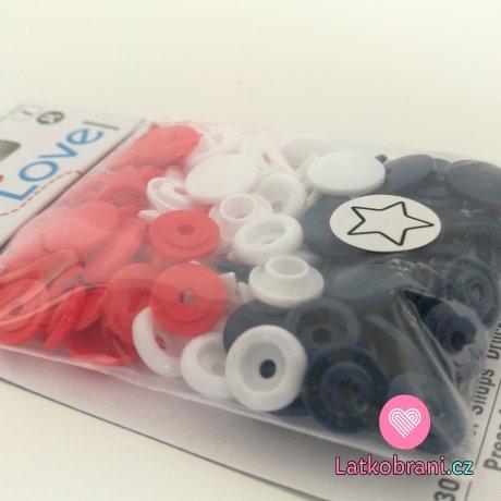 Patentky plastové Color snaps PRYM LOVE - hvězdičky bílé, modré, červené