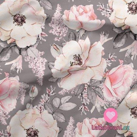 Softshell potisk jemné růže na šedé