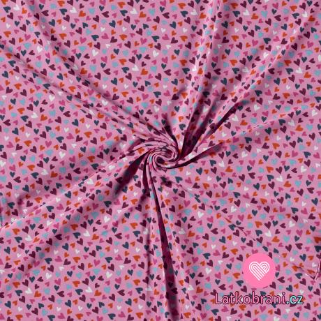 Úplet potisk barevná srdíčka na růžové