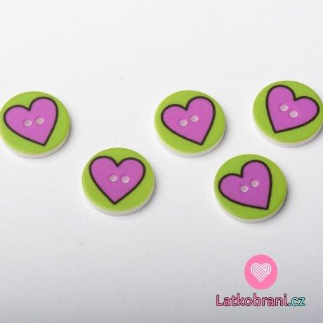 Knoflík kulatý, dětský, zelený s fialovým srdíčkem