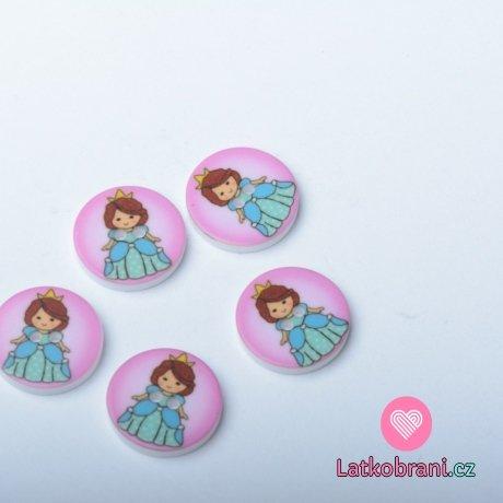Knoflík kulatý, dětský s princeznou v modrých šatech na růžové