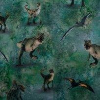 Teplákovina potisk dinosauři z Jurského světa na zelené