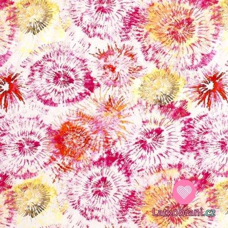 Úplet potisk fuchsiové batikované květy na bílé